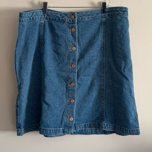 New Look Curves 16 Denim Skirt Button Front